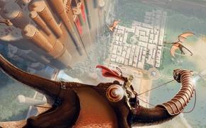 Картинка полет, замок, высота, драконы, фэнтези, арт, всадник, крепость, щит, плащ, доспех