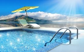 Картинка солнце, океан, бассейн, pool, water, swimming, glittering