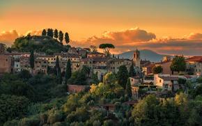 Картинка облака, закат, башня, силуэт, холм, Италия, церковь, Тоскана, Palaia