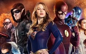 Картинка Wentworth Miller, crossover, series, Arrow, DC Comics, Stephen Amell, Oliver Queen, Supergirl, Kara, powerful, Flash, …