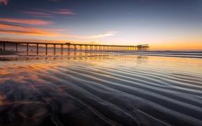 Картинка отлив, пирс, зарево, берег, песок, море, вечер, небо