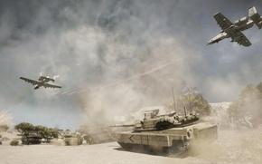 Картинка взрыв, война, пустыня, дым, танк, самолёты, bad company 2
