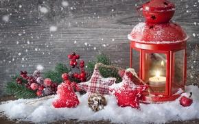 Картинка звезды, снег, игрушки, свеча, ветка, Новый Год, Рождество, шишка, Christmas, сердечко, подсвечник, New Year, елочные