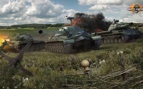 Картинка поле, трава, земля, дым, выстрел, СССР, битва, легенда, гусеницы, выхлоп, ИС-7, ИС-4, World Of Tanks, …