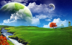 Картинка небо, трава, планеты
