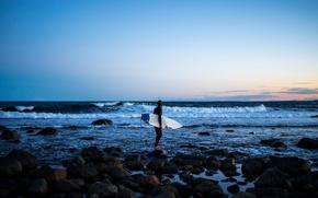Картинка waves, twilight, sea, sunset, rocks, evening, dusk, surfer, surfboard, extreme sport