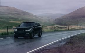 Картинка Avant, Black, Range Rover, Land Rover, Garde, Sport, Road, Front, Wheels