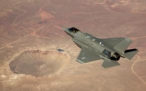 Обои пустыня, кратер, Lockheed Martin, F-35A, истребительВВС США, тестовый полет