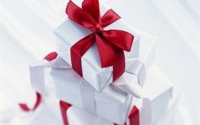 Картинка праздник, подарки, красная, бантик, ленточка, коробки