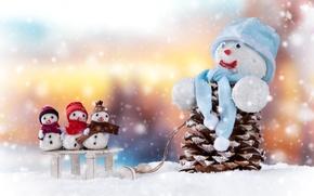 Картинка Снег, Новый год, Шишки, Праздники, Снеговики, Шапки