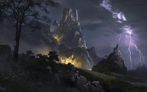 Картинка горы, ночь, тучи, камни, замок, дерево, молния, волк, башни