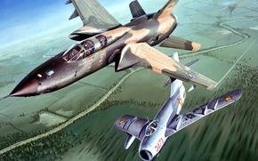 Картинка рисунок, арт, Вьетнам, ВВС США, истребитель-бомбардировщик, Republic, МиГ-17, F-105, Thunderchief