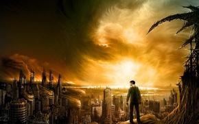 Обои рисунок, небо, город, человек