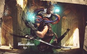 Картинка девушка, меч, арт, храм, Prince of Persia
