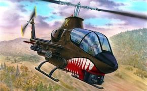Картинка art, helicopter, painting, aviation, AH-1G Cobra