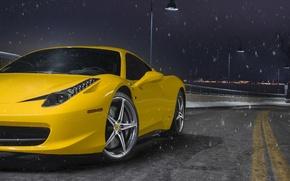 Картинка Ferrari, 458, Front, Snow, Yellow, Italia, Road, Supercar, Wheels, Ligth, Nigth