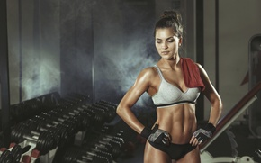 Картинка pose, workout, rest, fitness girl, sportswear, transpiration