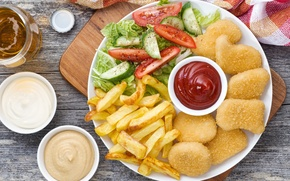 Картинка фри, соус, картофель, овощи, курица, салат