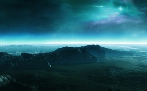 Картинка небо, горы, звезда, Планета, рельеф, камета