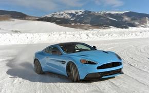 Картинка лед, Aston Martin, дрифт, V12, Vanquish