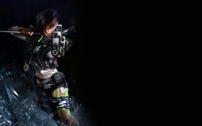 Картинка взгляд, стекло, осколки, оружие, Девушка, меч, катана, Girl, пушка, киберпанк, cyberpunk