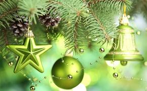Картинка звезды, украшения, елка, Новый год, new year, stars, merry christmas, Счастливого Рождества, bell, green balls, …