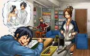 Картинка девушки, комната, сон, спит, парни, невеста, друзья, bakuman, жених, kaya miyoshi, akito takagi, masiro moritaka, …