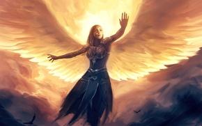 Обои взгляд, крылья, арт, ангел, птицы, полет, девушка, фантастика, облака