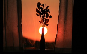 Картинка закат, цветы, окно