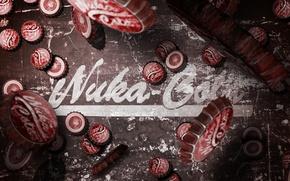 Картинка надпись, крышки, много, Fallout 3, New Vegas, крышечки, Nuka Cola