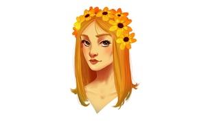 Картинка девушка, цветы, оранжевый, голова