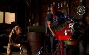 Картинка гараж, Вин Дизель, мотор, Vin Diesel, Dominic Toretto, Эльза Патаки, Elsa Pataky, Форсаж 6, Fast …