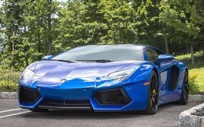 Картинка Lamborghini, blue, parking, aventador
