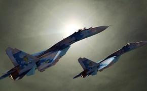 Обои истребители, Sukhoi, Ukraine, SU27