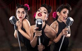 Картинка девушки, микрофоны, trio, Les Babettes