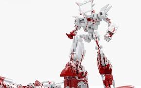 Картинка белый, кровь, робот