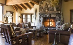 Картинка Switzerland, fireplace, ski resort, pension