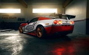 Картинка гараж, Corvette, Chevrolet, Mädchen&Motoren