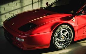 Обои F 512 M, Ferrari, красный, передок, гараж