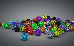 Картинка абстракция, мяч, цвет, объем, треугольник, многогранник