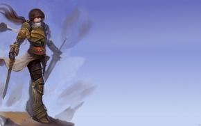 Картинка девушка, фентези, меч, доспехи, арт, Дворф