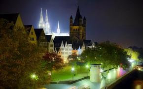 Картинка ночь, город, фото, HDR, Германия, фонари, Кельн