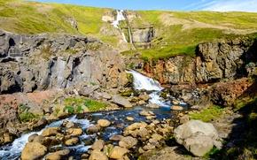 Картинка пейзаж, камни, холмы, речка, Исландия