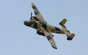 Картинка полет, бомбардировщик, американский, North American, двухмоторный, средний, Mitchell, B-25