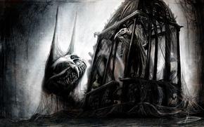 Обои стиль, готика, арт, паутина, птица, монстр, клетка