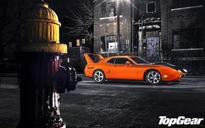 Обои ночь, оранжевый, улица, тюнинг, фонарь, Top Gear, Dodge, Challenger, мускул кар, вид сбоку, tuning, самая ...