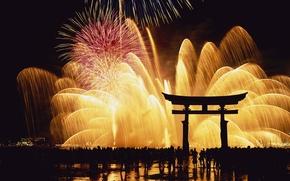 Картинка ночь, япония, фейерверк