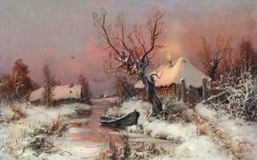 Картинка зима, небо, свет, снег, дом, река, дерево, птица, лодка, забор, деревня, изба, Юлий Юльевич Клевер, …