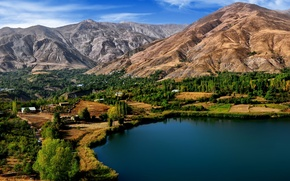 Картинка деревья, горы, озеро, Иран, Iran, Ovan Lake