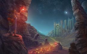 Картинка шляпа, арт, планета, пилигримы, путники, поход, огни, город, ночь, посох, скалы, звезды